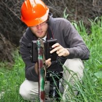 C - Baylands - 04-02-2012 - 005 Greg Kerekes changing trail cam chip in camera